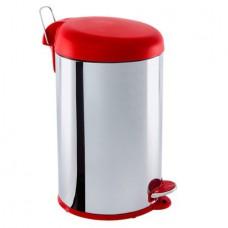 Lixeira Aço Inox com Pedal - 12 Litros BRINOX Vermelha