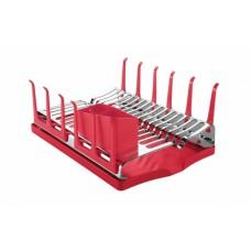 Escorredor de Louças Aço Inox com Bandeja Vermelho PLURALE