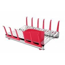 Escorredor de Louça Aço Inox Vermelho PLURALE