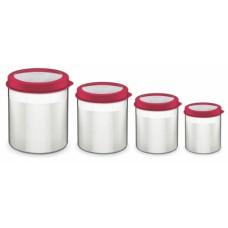 Jogo de Potes com Tampa Plástica 4 Peças Vermelho