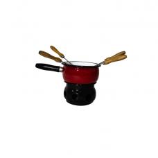Conjunto para Fondue Esmaltado Vermelho/Branco