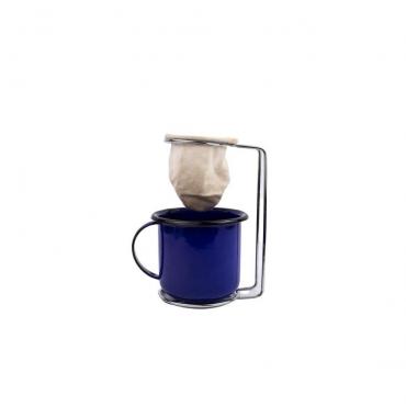 Mini Coador com Suporte e Caneca Esmaltada Azul