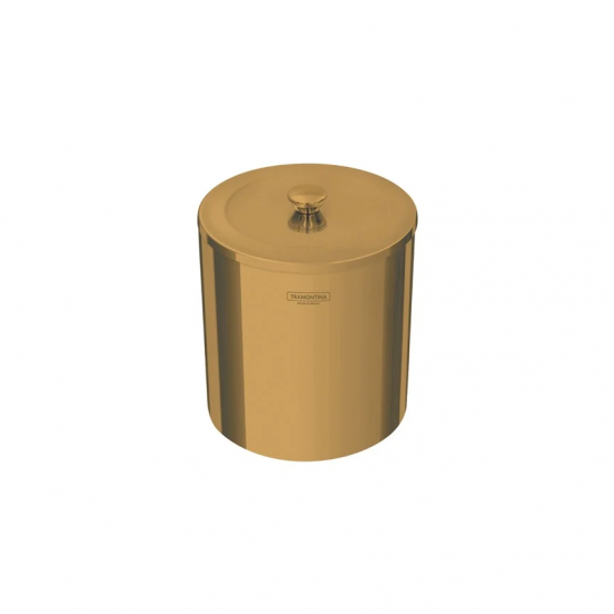Lixeira Gold em Aço Inox Polido com Tampa