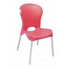 Cadeira com Encosto Fechado e Pernas Polidas JOLIE SUMMA Vermelha